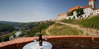 Degustační stánek vinařství Lahofer na Rajské vinici v historickém centru města Znojma pod kostelem sv. Mikuláše